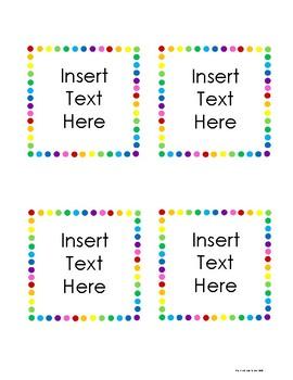 Rainbow Polka Dot Labels
