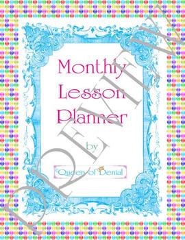 Rainbow Polka Dot Monthly Lesson Planner PDF