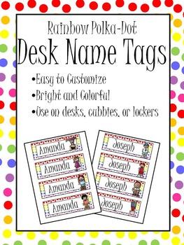 Rainbow Polka-Dot Name Tags