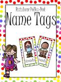 Rainbow Polka Dot Name Tags or Bookmarks
