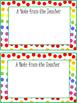 Rainbow Polka Dot Note From the Teacher