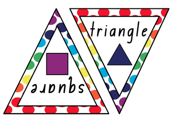Rainbow Polka Dot Number and 2D Shape Bunting