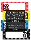 Rainbow & Polka Dot Owl Theme Name Labels