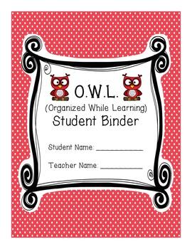 Rainbow & Polka Dot Owl Theme Student (O.W.L.) Binder - with Editable Pages!