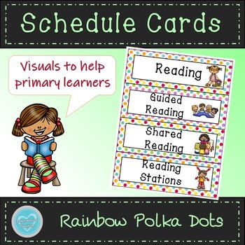 Rainbow Polka Dot Schedule Cards