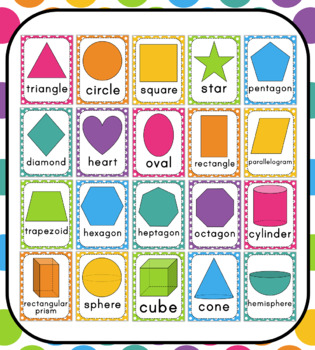 Rainbow & Polka Dot Shape Posters: Includes 2D & 3D Shapes!