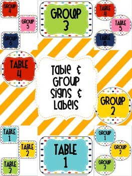 Rainbow Polka Dot Table & Group Signs & Labels
