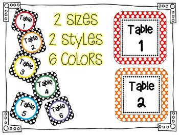 Primary Polka Dot -Table Numbers