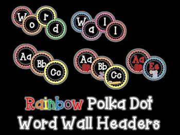 Rainbow Polka Dot Word Wall Headers & 220 Word Wall Words {Editable}