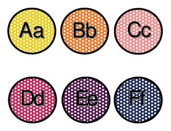 Rainbow Polka Dot Word Wall Labels
