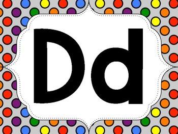 Rainbow Polka-Dot Word Wall Letters