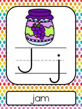 Rainbow Polka Dots ABC Posters