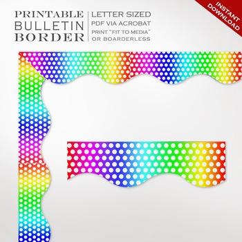 Rainbow Polka Dots Printable Bulletin Board Trim