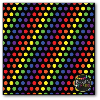 Rainbow Polka Dots on BLACK Digital Papers {Commercial Use Digital Graphics}