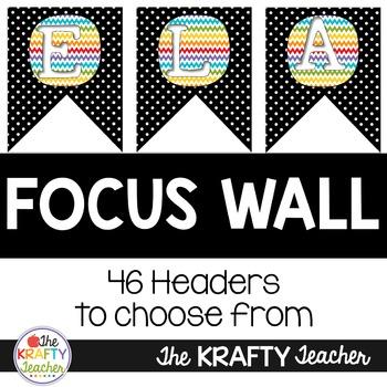 Rainbow Polka-dot ELA Focus Wall with Banner and headers