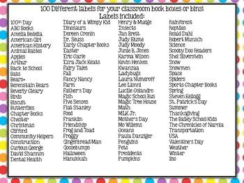 Rainbow Polkadot Classroom Library Labels