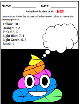 Rainbow Poop Emoji color by math (number-word, addition, subtraction, multiply)