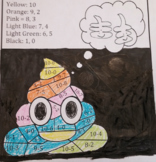 Rainbow Poop Emoji color by math (number-word, addition, s