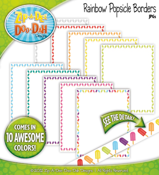 Rainbow Popsicle Borders — 10 Colorful Graphics!