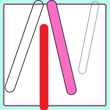 Rainbow Popsicle Sticks Clip Art Set Commercial Use