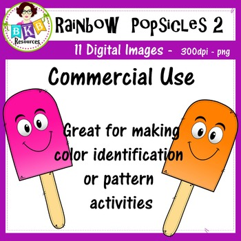 Rainbow Popsicles 2 - Clip Art - Commercial Use!