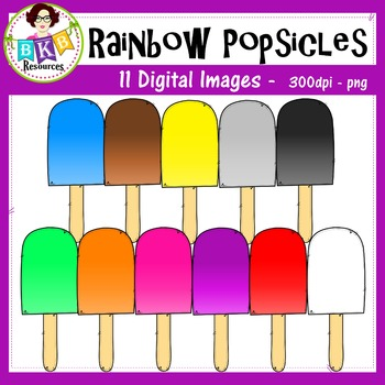 Rainbow Popsicles - Clip art - Commercial Use