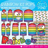 Rainbow Popsicles Clipart Set