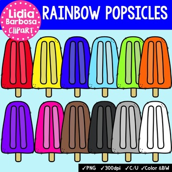 Rainbow Popsicles- Digital Clipart
