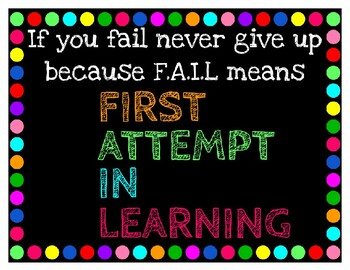 Rainbow Poster-Fail means First Attempt In Learning