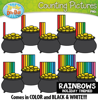 Rainbow Pot of Gold Counting Pictures Clipart {Zip-A-Dee-Doo-Dah Designs}