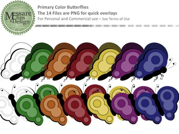 A Freebie Rainbow Primary Color Butterfly Set {Messare Clips and Design}