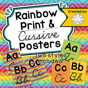 Rainbow Print and Cursive Alphabet Posters