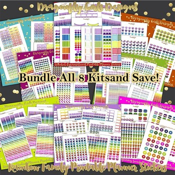 Rainbow Printable Planner Stickers Kit-All 8 Kits 5412 stickers