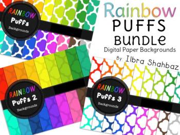 Rainbow Puffs Digital Paper Backgrounds {BUNDLE}