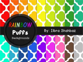 Rainbow Puffs Digital Paper Backgrounds