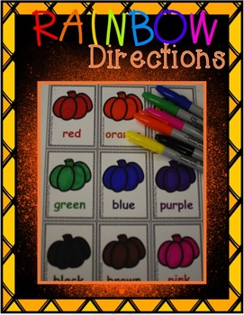 Fall Center ~ Rainbow Pumpkin Writing and Color Word Center