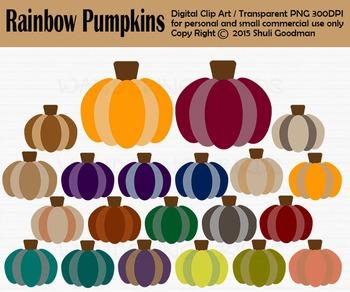 Rainbow Pumpkin clip art