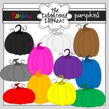Rainbow Pumpkins Clip Art
