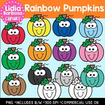 Rainbow Pumpkins Digital Clipart