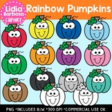 Rainbow Pumpkins Digital Clipart