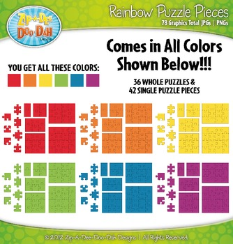 Rainbow Puzzle Pieces Clipart {Zip-A-Dee-Doo-Dah Designs}