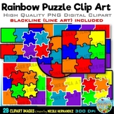 Rainbow Puzzles Clip Art for Personal and Commercial Use
