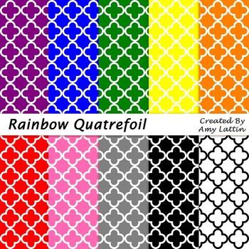 Rainbow Quatrefoil Papers