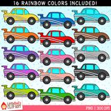 Rainbow Race Cars Clip Art