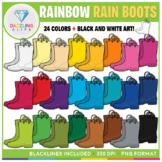 Rainbow Rain Boots Clip Art