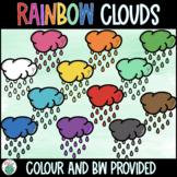 Rainbow Rain Clouds Clipart - Spring Clipart