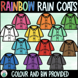 Rainbow Rain Coats Clipart - Spring Clipart
