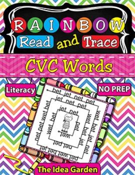 Rainbow Read and Trace - CVC Words
