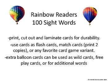 Rainbow Readers Sight Word Cards