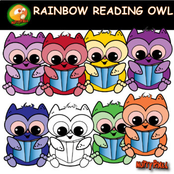 Rainbow Reading Owl Clip Art